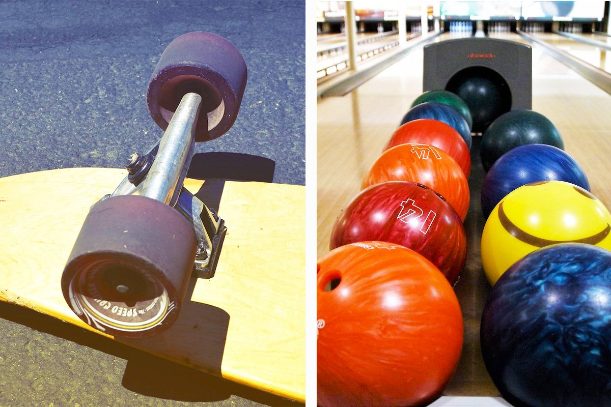 skateboard bowling ball